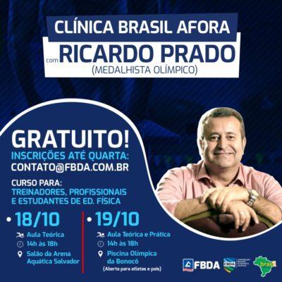 Medalhista olímpico, Ricardo Prado promove em Salvador clínica de natação aprovada pela Fina